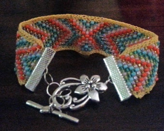 Pastel Chevron Beaded Bracelet   (I 170)
