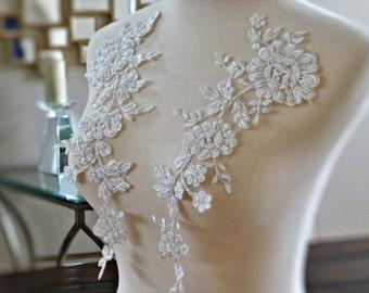 "Beautiful Heavily Beaded Ivory Bridal Lace Applique Set, Bridal Applique, Wedding Applique, Dressmaking, Veil 12.5""x4.5"" GD-96436WBP"