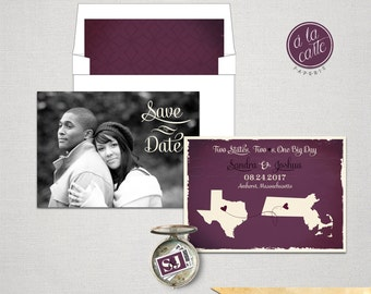 USA Two States Save the Date Card Plum Purple colors with photo Destination wedding invitation DEPOSIT PAYMENT