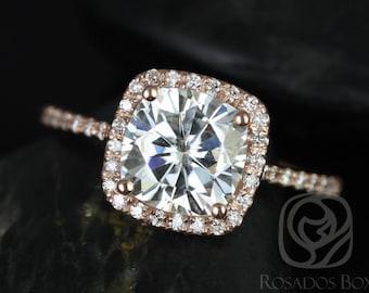 Rosados Box Catalina 7.5mm 14kt Rose Gold Cushion F1- Moissanite and Diamond Halo Engagement Ring