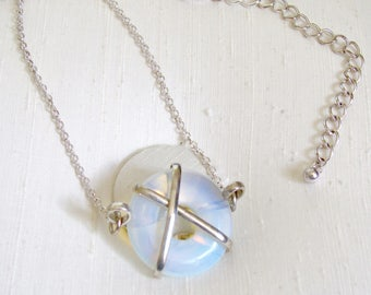 """Sea Opal Circle Necklace ~ Circle of Life Pendant ~ Karma Necklace ~ Wire Wrapped Eternity Circle Necklace: 17-21"""" inches"""