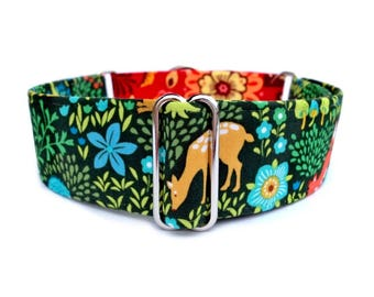 Peaceful Woodland Dog Collar - Fabric Wrapped Martingale Dog Collar or Buckle Dog Collar with Red, Blue, Green, Fox, Deer, Hedgehog