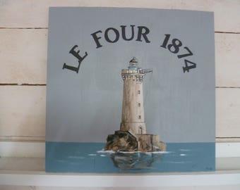 Kiln Lighthouse painting on wood