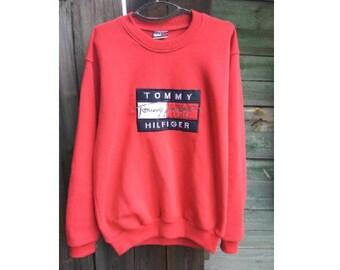 TOMMY HILFIGER sweatshirt, vintage red shirt, Tommy big logo, 90s hip-hop clothing, 1990s hip hop shirt, gangsta rap, sewn, size L Large