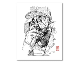 Sean Price / Black and White / Fine Art Print / Giclee / Yokai Illustration / Artist Portrait Series / One Line / Continuous Line