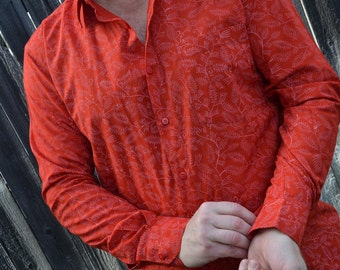 Men's Handmade Hand Block Printed Indian Woven Cotton Long Sleeve Button Down Pocket Shirt - Red with White Vines - Darragh I963