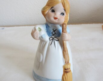Cinderella Bell Little Girl Figurine Bisque Collectible Bell by Jasco
