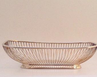 Vintage Rectangular Wire/Bread Basket, Silverplate, F.B.Rogers, Platner Style