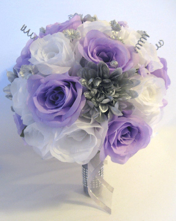 Wedding Silk Flowers Bridal Bouquet LAVENDER Lilac SILVER GRAY