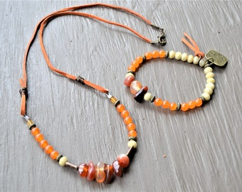 CARNELIAN Beige Czech Glass and Orange Beaded Necklace Bracelet Set Rust Suede Necklace Dreaming of the Sea Charm