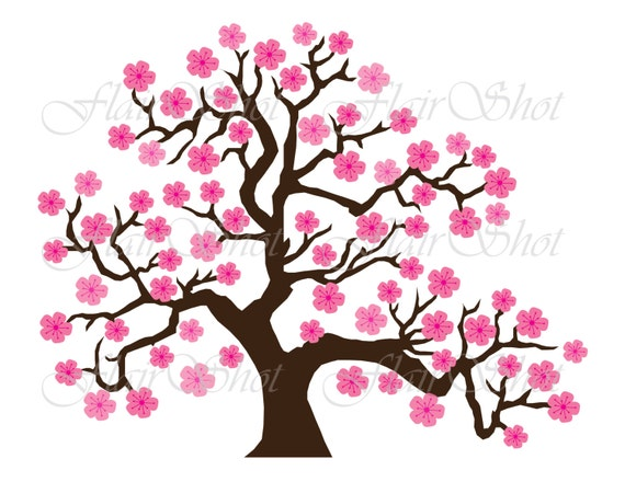 digital clip art pink cherry blossom tree clipart bonsai tree rh etsystudio com