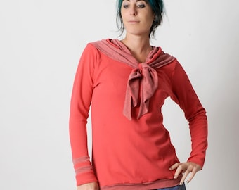 Coral red sweater, Womens sweater sailor scarf, Womens clothing, Red and grey stripes womens sweatshirt, Womens sweaters, MALAM, UK12