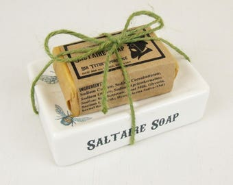 Saltaire Soap Dish gift set with handmade cold-process soap bar, dish by Jessica Irena Smith Glass