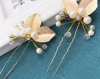 Sale! Wedding hair pins, Gold hair pins, Bridal hair pins, Pearl gold Leaves Hair Pins
