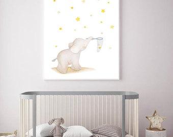 Elephant NurseryArt,Elephant Nursery,Nursery elephant,Elephant Decor,Elephant Kids Room,Elephant Baby Art,Elephant Children,Elephant Stars