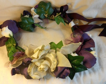Aubergine, Cream and Green Flower Crown with Faux Flower and Leaf and Satin Flower has Green and Aubergine Ribbon