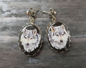 Signed Wolf Print Cabochon Earrings - 35mm x 19mm