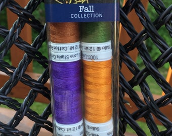 CROSSROADS Decorative 12 wt Cotton Thread - (FALL) - 10 Piece Set - Perfect for Hand and Machine Embroidery, Applique, and Quilting
