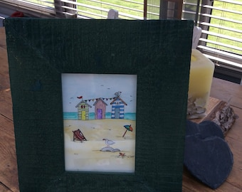 """Seaside painting. Watercolour. 4 1/2"""" by 6 1/2"""". Driftwood frame 10 1/2"""" by 12 1/2""""."""