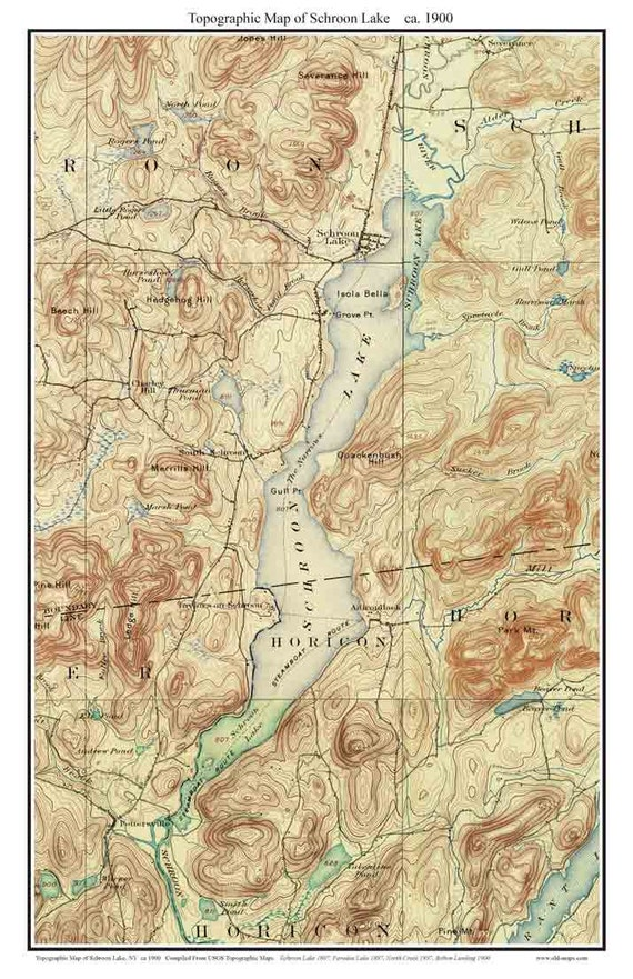 Schroon Lake ca 1900 USGS Old Topographical Map Custom