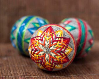 Three Japanese Handmade Temari Balls