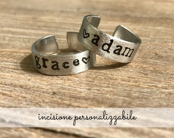 Customizable aluminum band ring with custom handmade engraving