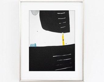Small Black Abstract Drawing - Small Abstract Art - Small Black Painting - Contemporary Abstract Paintings - Black Yellow Abstract Drawing