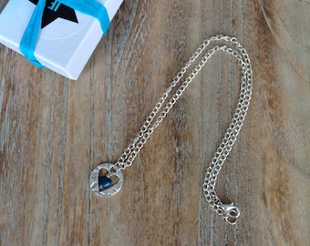 Silver clay Heart Necklace, fine silver pendant, blue heart, valentine gift, silver clay, indigo eve jewellery,