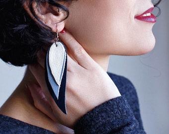 Dark blue, light blue and white Feather Leather Earrings, layered earrings, tribal Earrings, Boho earrings, dangle earrings, long earrings