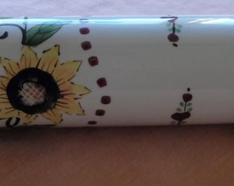 Wood and Porcelain Rolling Pin/Sunflowers/Miami,Florida