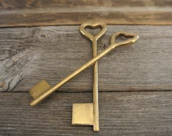 Antique Brass Heart Skeleton Key
