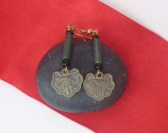 Phoenix and Dragon charm dangle earrings
