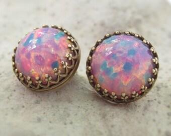 Fire Opal Earrings, Opal Stud Earrings, October Birthstone Jewelry, Round Glass Opal Earrings, Opal Jewelry, Birthstone Gifts, Gifts For Her