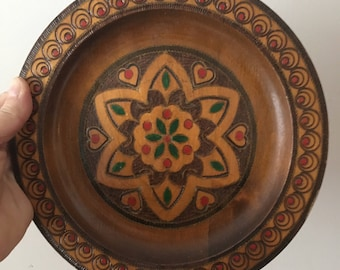 Wooden Hand Engraved Pyrography Painted Flower Design Plate Folk Art