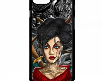 Geisha girl dragon samurai japanese tattoo chinese art graphic cover for iphone 4 4s 5 5s 5c SE 6 6s 7 8 plus X phone case