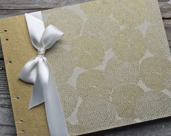 Gold Guest Book, 50th Anniversary Guest Book, Golden Wedding Anniversary, Blossoms in Gold on Ivory,  {MADE upon ORDER}