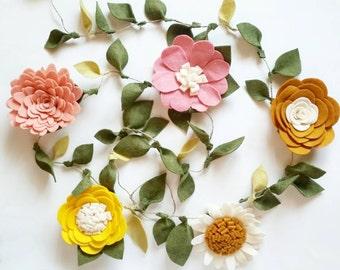 Floral Nursery Garland - Nursery  Floral Décor - Nursery Garland - Floral Wall Decor - 5 Large Felt Flower's - Whimsical Floral Garland