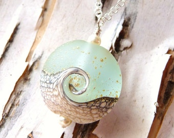 Frosted White Lampwork Ocean Wave Glass Lentil Bead with Gold Speckles Handmade Necklace