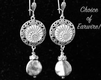 Vintage Button Earrings, Reclaimed Assemblage, Pierced, Silver, White, Cream, Hook, Leverback, Post, Choice, Jennifer Jones, OOAK - Antique