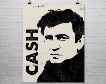Johnny Cash Art Print, Johnny Cash Poster, Johnny Cash Print, Rock Poster, Country Music, Screen Print , Hatch Print Look