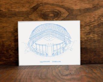Kauffman Stadium - Kansas City Royals - Stipple Drawing - Baseball Art - Kansas City Royals Art - Kansas City Royals Print
