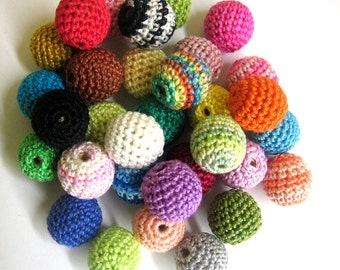 Crocheted beads 18 or 20 mm, 50pc handmade round choose Your colors