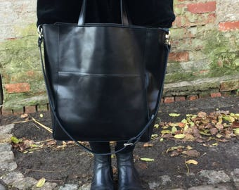 Black Italian Leather Shoulder Bag with zipper, Cross body Leather Tote, Leather Handbag, Leather Laptop Bag, Leather Tote Bag, Leather Bag