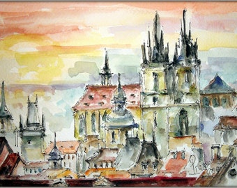 Original   watercolor  painting. Charming Prague. Watercolor graphics in warm colors. The architectural style of the author.