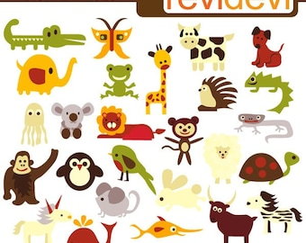Alphabet Animals clipart / Retro ABC Animals / commercial use clip art for teaching alphabet / digital images, instant download