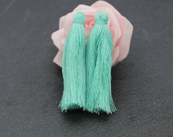 about 50 mm light green cotton tassel x 2 charms