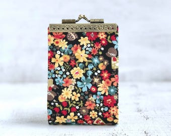 Womens Credit Card Case Cotton, Business Card Holder Wallet, Fabric Compact Card Wallet, Credit Card Organizer, Kiss Lock Frame purse