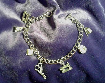 Sewing  Charm Bracelet.Antiqued Silver: