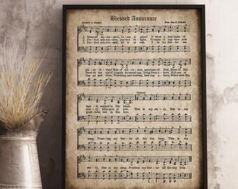 Blessed Assurance Print, Printable Vintage Sheet Music, Instant Download, Antique Hymn, Inspirational, Scrapbook Collage, Christian Art