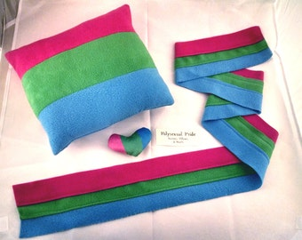 Polysexual/Polyromantic Pride Scarves, Pillows, and Mini Hearts
